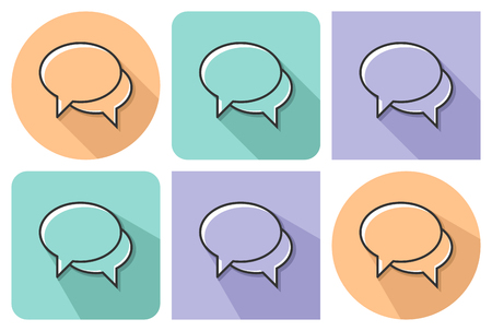 Outlined icon of  two blank speech bubbles (dialogue icon) with parallel and not parallel  long shadows