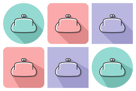 Outlined icon of  purse  with parallel and not parallel  long shadows  Illustration