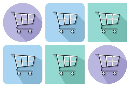 Outlined icon of  shopping trolley  with parallel and not parallel  long shadows