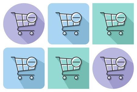Outlined icon of  shopping trolley with minus sign (remove from cart)  with parallel and not parallel  long shadows