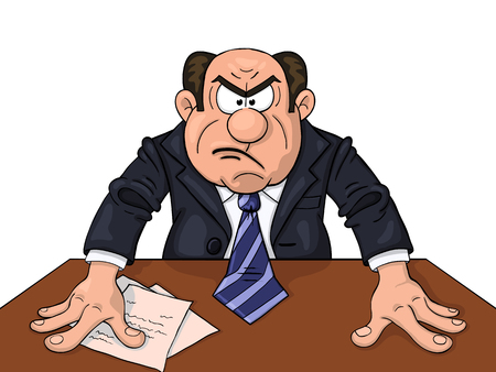 Angry boss at the table