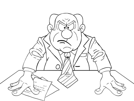 Black and white illustration of angry boss at the table Illustration