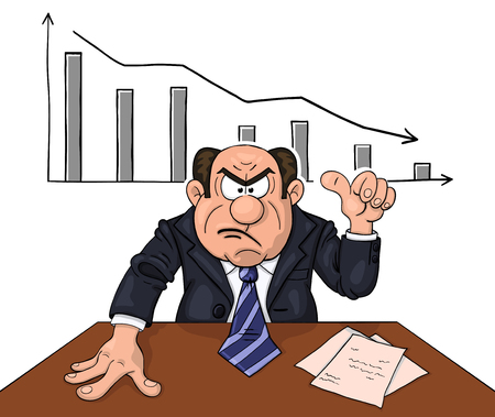 Angry boss at the table indicates on descending diagram behind Illustration