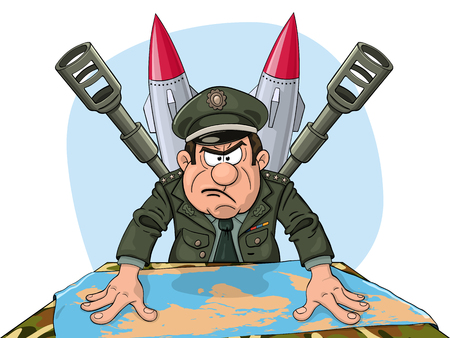 Angry military general at the table with map of the Earth. Set of heavy armament behind him