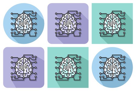 Outlined icon of  brain as central processing unit with elements of printed circuit board with parallel and not parallel long shadows. Artificial intelligence concept Illustration