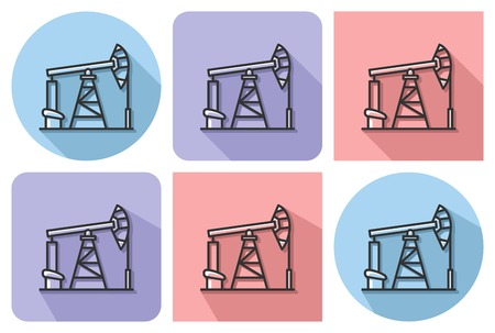 Outlined icon of oil derrick with parallel and not parallel long shadows