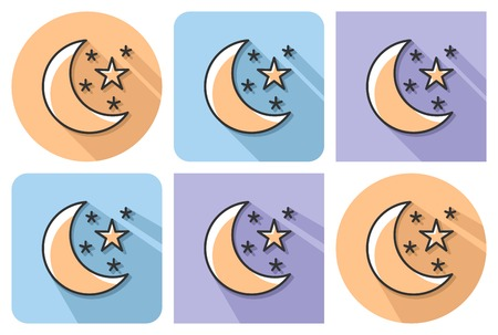 Outlined icon of   crescent with stars (clear night weather) with parallel and not parallel long shadows      Ilustrace