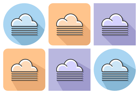 Outlined icon of foggy weather with parallel and not parallel long shadows.