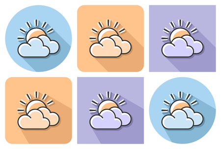 Outlined icon of sun with clouds (partly cloudy weather) with parallel and not parallel long shadows. Ilustrace