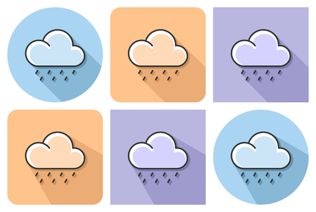 Outlined icon of heavy rainfall with parallel and not parallel long shadows Vector illustration.