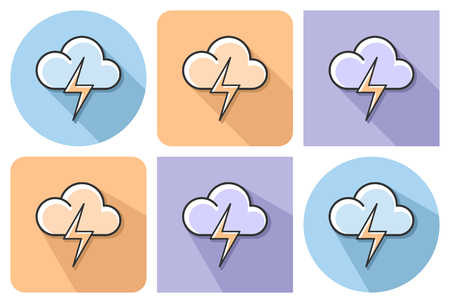 Outlined icon of cloud with lightning with clouds  with parallel and not parallel long shadows Ilustrace