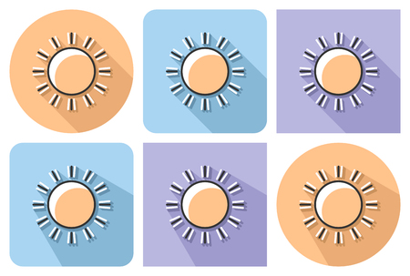 Outlined icon of sun (sunny weather) with parallel and not parallel long shadows     イラスト・ベクター素材