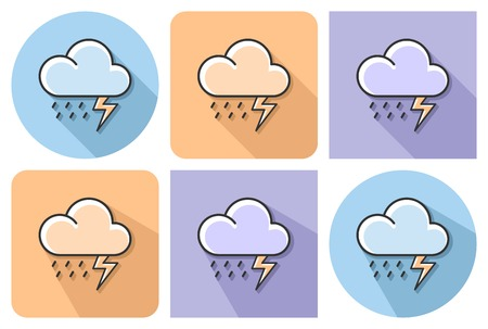 Outlined icon of thunderstorm with parallel and not parallel long shadows.
