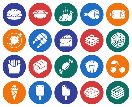 Collection of round icons: Food Vector illustration. Illustration