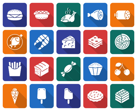 Collection of rounded square icons: Food Vector illustration. Illustration