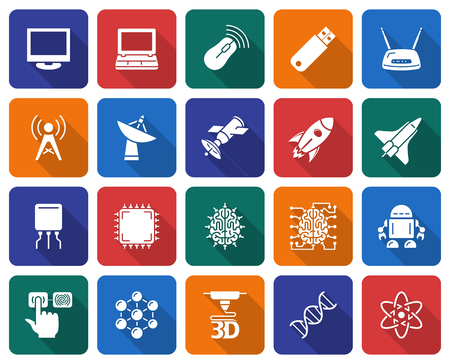 Collection of rounded square icons: High  technology Vector illustration. Ilustrace