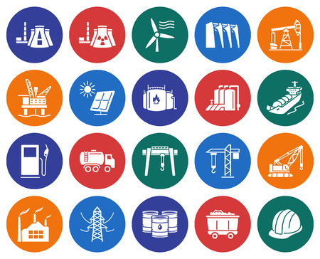 Collection of round icons: Industries, construction and energy production Vector illustration.