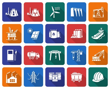 Collection of rounded square icons: Industries, construction and energy production Vector illustration.
