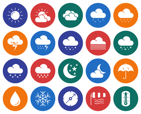 Modern line style icons set: Weather Vector illustration. Ilustração