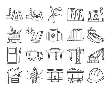 Moderne Linienstilikonen: Industrie, Bau und Energieerzeugung Vektorillustration.