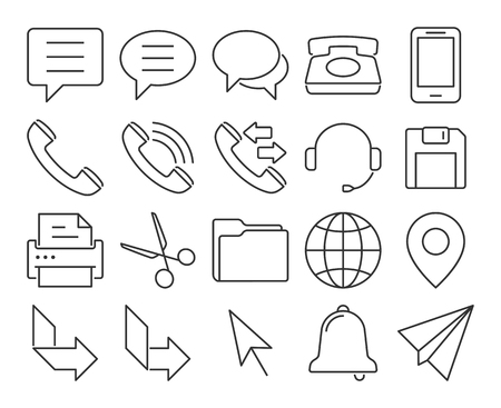 Modern line style icons: User interface Vector illustration. 向量圖像