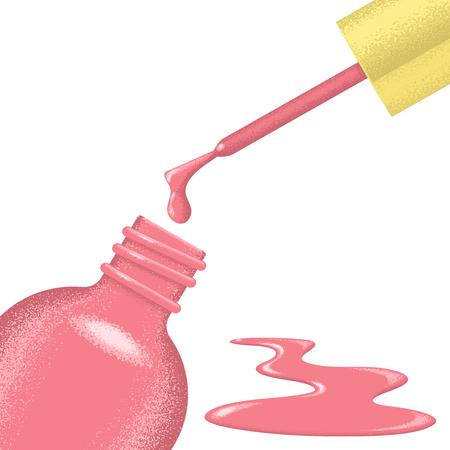 Illustration of open bottle of nail polish.
