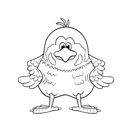 Black and white illustration of funny cartoon sparrow with wings akimbo.