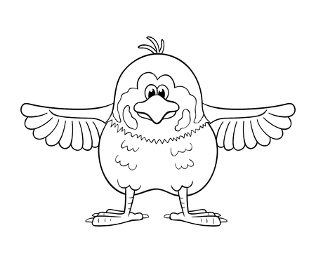 Black and white illustration of funny cartoon sparrow with wings widely spreading out.