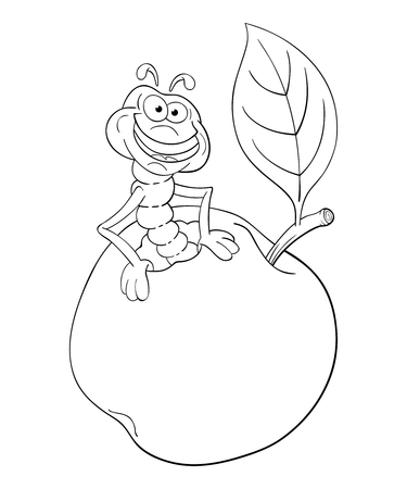 Black and white illustration of cartoon worm coming out of an apple. Illustration