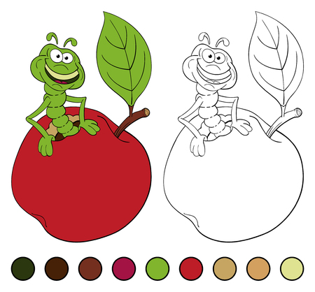 Funny cartoon worm coming out of an apple. Coloring book. Illustration