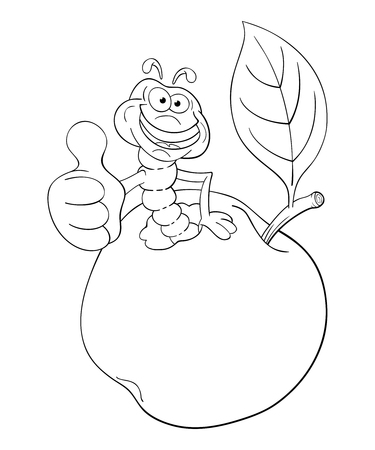 Black and white illustration of funny cartoon worm coming out of an apple and shows his thumb with approval.