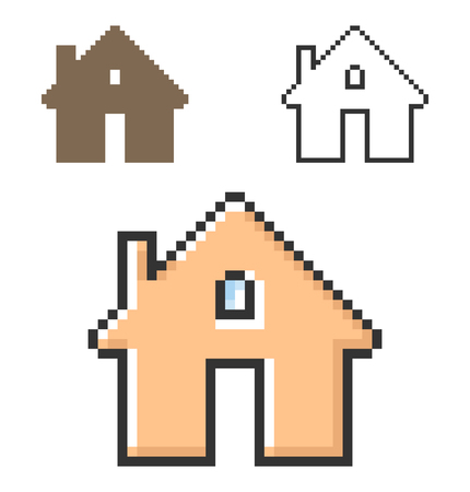 Pixel icon of home in three variants. Fully editable Illustration