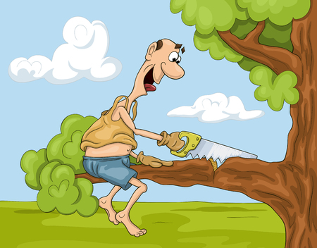 Funny and not very clever cartoon man is sawing a tree brunch he is sitting on