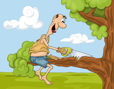 Hombre de dibujos animados divertido y no muy inteligente está aserrando un brunch de árbol en el que está sentado Ilustración de vector