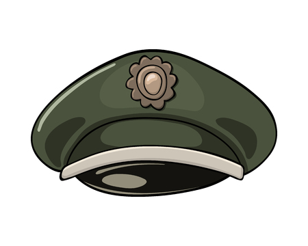 Cartoon illustration of military service cap with abstract. Illustration