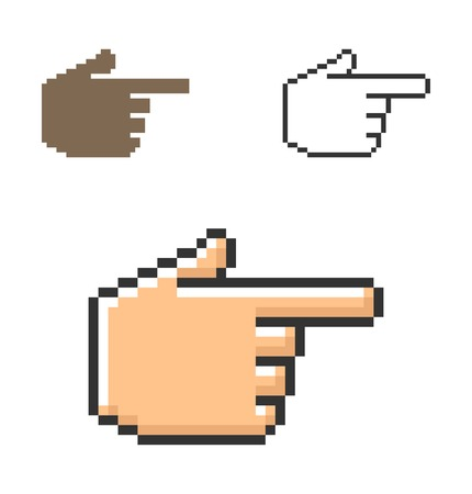 Pixel icon of hand with forefinger pointing forward  in three variants. Fully editable