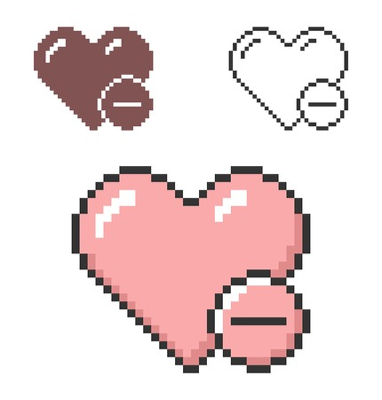 Pixel icon of heart with minus sign (remove from favorites) in three variants. Fully editable Vettoriali