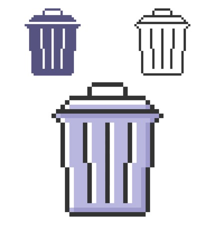 Pixel icon of refuse bin in three variants. Fully editable Illustration