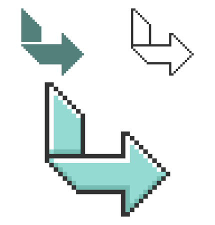 Pixel icon of orthogonally curved arrow in three variants. Fully editable  イラスト・ベクター素材