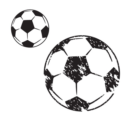 Soccer ball illustration in two variants on white background