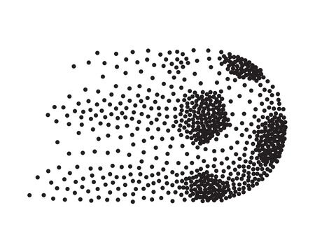 Abstract soccer ball in motion made from black round particles