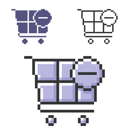 Pixel icon of  shopping trolley with minus sign (remove from cart) in three variants. Fully editable