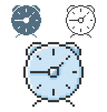 Pixel icon of alarm clock in three variants. Fully editable