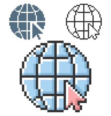 Pixel icon of globe with pointer arrow (go to web) in three variants. Fully editable