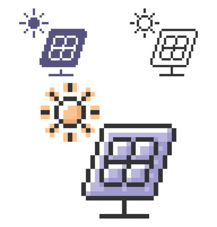 Pixel icon of solar battery in three variants. Fully editable