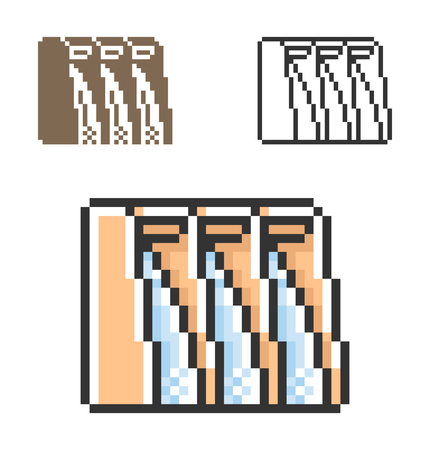 Pixel icon of hydro-electric power plant  in three variants. Fully editable
