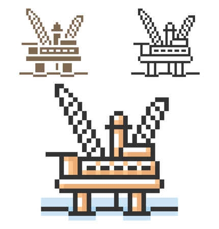 Pixel icon of offshore oil platform in three variants. Fully editable 向量圖像