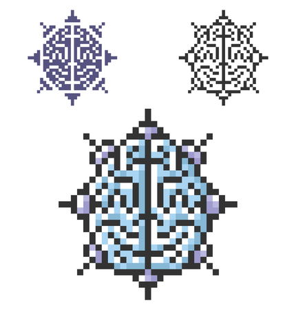 Pixel icon of  brain as central processing unit in three variants.  Artificial intelligence concept. Fully editable