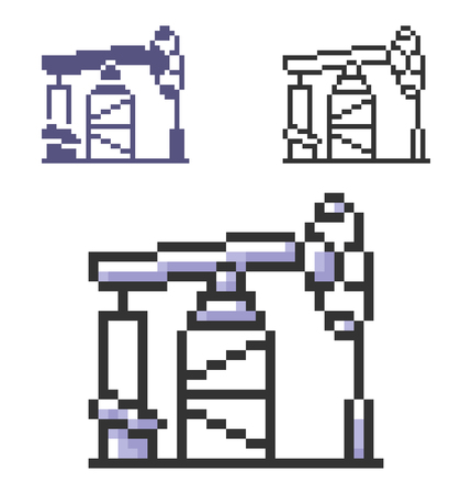 Pixel icon of oil derrick in three variants. Fully editable