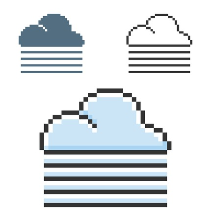 Pixel icon of foggy weather in three variants. Fully editable